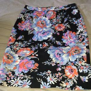 ASOS black cotton floral pattern skirt, size 6